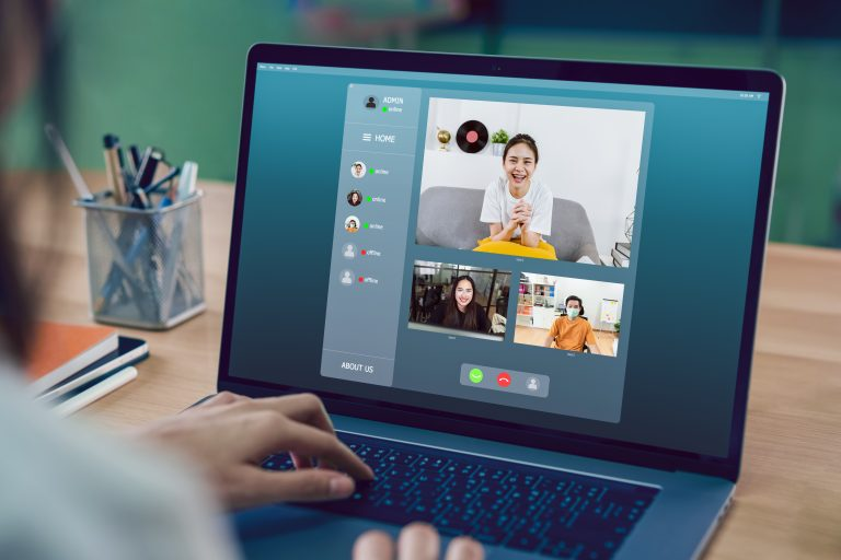 businesswoman making video call meeting to team online and present work projects. Concept working from home.